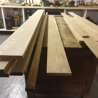 Woodwork in pieces ready for assembly